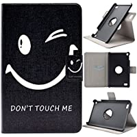 Kindle Fire 7 2015 Case, per Amazon Kindle Fire 7 Tablet Caso, Asnlove Elegante Custodia in Pelle Rotante 360 Gradi Case Caso Della Tablet Con Interni Plastica Rigida PC Cover Flip Slim a Libro Magnetica Supporto Protezine Shell Cover(5ª generazione - modello 2015), Don't touch my phone nero