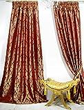 Trendoro 1 Vorhang, Vorhangschal Kollektion *Palazzo* 140 x 260 cm, Weinrot/Gold, Jacquard-Qualität, Blickdicht, Ateliergefertigt