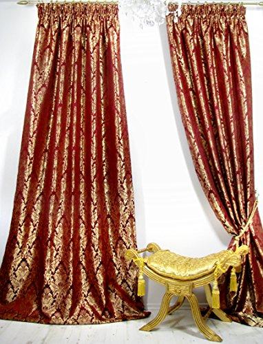 Trendoro 1 Vorhang, Vorhangschal Kollektion *Palazzo-RG* 140 x 245 cm, Weinrot/Gold,...