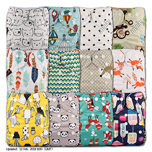 e Pocket Cloth Nappy, Fastener: Popper, Set of 12 (Stoffwindeln)