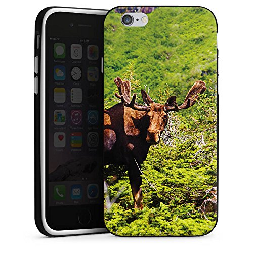 Apple iPhone X Silikon Hülle Case Schutzhülle Elch Rentier Hirsch Silikon Case schwarz / weiß
