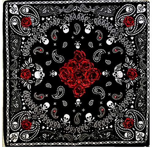 KUSTOM FACTORY - Pañuelo bandana negra, diseño de calavera y...