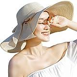 Women's Big Bowknot Straw Hat Foldable Floppy Wide Brim Beach Hat Sun UV Protection Visor Cap Roll up Sun Hat (Beige)