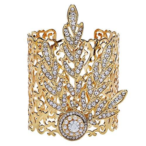 ArDeco 1920s Stil Blatt-Medaillon Armband Damen Gatsby Motto Party Zubehör 20er Jahre Kostüm Accessoires für Damen (Gold)