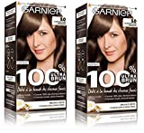 Garnier - 100% Ultra Brun - Coloration Permanente Châtain - Le Châtain Clair Sensation 5.0 Lot de 2