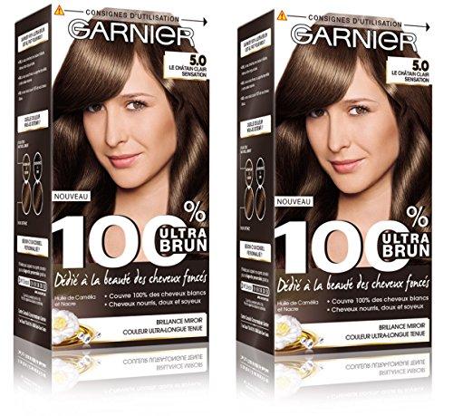Garnier - 100% Ultra Brun - Coloration Permanente Châtain - Le Châtain Clair Sensation 5.0 Lot de 2