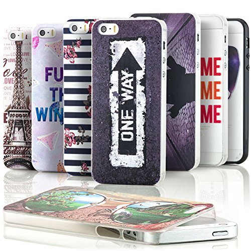 Saxonia Apple iPhone SE 5S 5 Hülle Hard Case Back Cover Schutzhülle Motiv Youth Planet Peace Youth Planet Peace