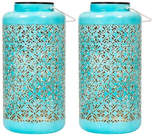 Luxform - Set di 2 luci a LED a energia solare, stile marocchino, per feste e matrimoni, colore: blu