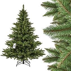 Fairytrees Künstlicher Weihnachtsbaum Nordmanntanne, Grüner Stamm, Material Pvc, Inkl. Metallständer, 180cm, Ft14-180