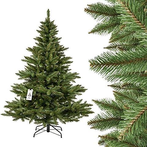 FAIRYTREES arbre sapin artificiel de Noêl SAPIN NORDMANN, tronc vert, matière PVC, socle en métal, 180cm, FT14-180