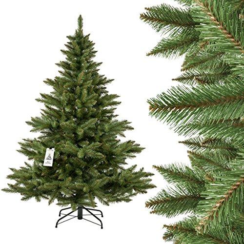 FAIRYTREES Weihnachtsbaum künstlich NORDMANNTANNE, grüner Stamm, Material PVC, inkl. Metallständer, 180cm