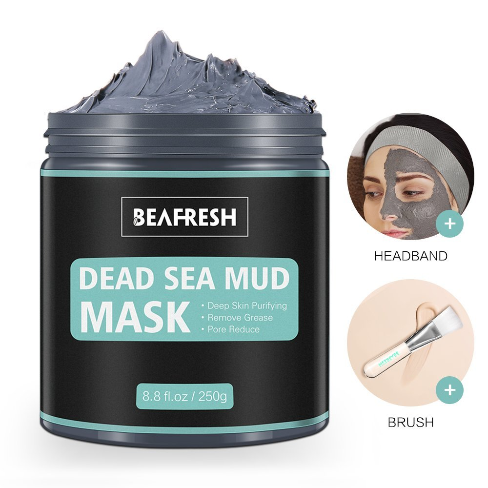 Natural Dead Sea Mud Mask – Headband & Brush included for Face and Body Cleansing Relaxing Detox Treatment Reduce Pores Purifying Face Mask for Acne Blackheads Oily Skin