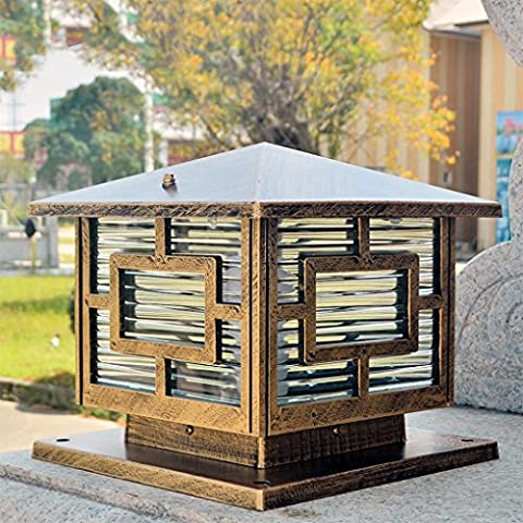 Deck Fence Mount Outdoor Garden Fence Lamp,Four-sided Glass, Retro Brass Color ( Size : 25cm*24cm )