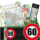 Zahl 60 | Geschenkset Entspannung + Teemischung | Geschenke 60. Geburtstag Frau