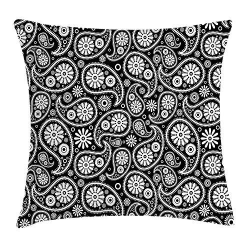 Xukmefat Schwarz und Weiß Dekokissen Kissenbezug, Paisley Teardrop-Motive mit Florals Persian Culture und Art Black White -