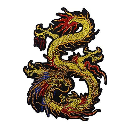 Parches de tela de encaje bordados con diseño de dragón para coser, parches adhesivos, accesorios de costura, 1 pieza
