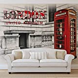 Stadt London Telefonzelle Rot - Wallsticker Warehouse - Fototapete - Tapete - Fotomural - Mural Wandbild - (3131WM) - XL - 208cm x 146cm - VLIES (EasyInstall) - 2 Pieces