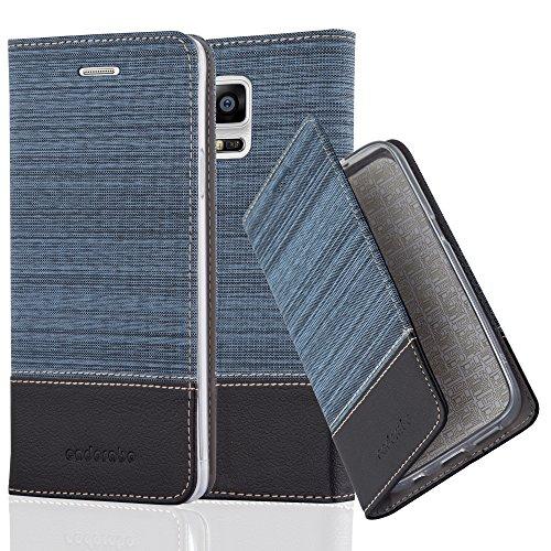Preisvergleich Produktbild Cadorabo Hülle für Samsung Galaxy Note 4 - Hülle in DUNKEL BLAU SCHWARZ – Handyhülle mit Standfunktion und Kartenfach im Stoff Design - Case Cover Schutzhülle Etui Tasche Book