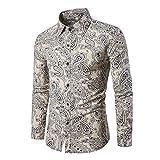 30f3330b57c Camisa de Lino Estampada para Hombre, Manga Larga, diseño Floral Beige  Paisley M