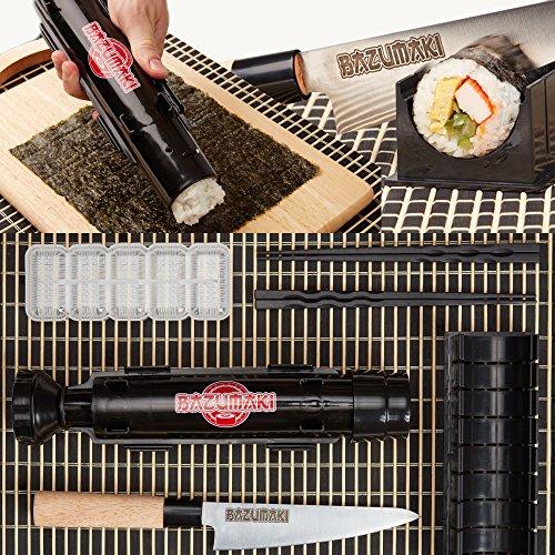 Bazumaki kit per sushi (6 accessori)   sushi bazooka, coltello per sushi, tagliere per maki, stampo per nigiri, set da tavola in bambù, 2 paia di bacchette   semplice da preparare   facile da ripulire