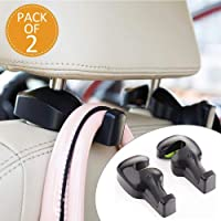 Lukzer (Pack of 2) Universal Car Back Seat Headrest Hook/Hanging Holder for Purse, Bags, Polybags, Handbags, Groceries…