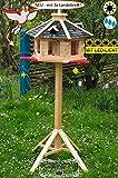 PREMIUM Vogelhaus mit Landebahn + LED - Beleuchtung / Licht/Anflugbrett, Massivholz,wetterfest, mit Ständer / mit Standfuß und Silo,Futtersilo für Winterfütterung, Vogelvilla Vöglehus Vogelhäuser Großes Vogelhäuschen, aus Holz Vogelvillas schwarz anthrazit SGAL40atMS