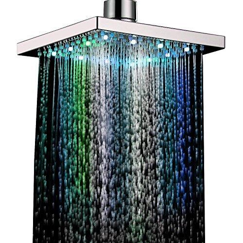 Ouku® 7 Farben ändern LED Zeitgenössische Dusche Wasserhahn Head of 8 Zoll duscharmaturen led duschkopf duscharmatur regenduschkopf regenbrause led