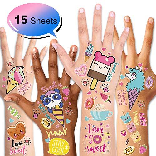 Konsait Kinder Tattoos Set, Temporäre Tattoos Aufkleber für Kinder Mädchen Kindergeburtstag Mitgebsel Geschenk Kinder Spielen, Süßigkeits, Bonbon, Eiscreme, 15 Blatt (Für Geschenke Kinder Süßigkeiten)