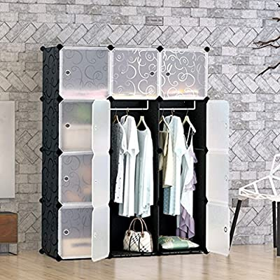 Tespo Portable Clothes Closet Wardrobe, DIY Modular Storage Organizer, Sturdy Construction, 12 Deeper Cubes with Hanging Rods, Curly Pattern Black White - inexpensive UK light store.