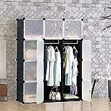 tespo Tragbare Kleidung Closet Kleiderschrank, DIY Modular Lagerung Organizer, stabile Konstruktion, 12Tiefer Würfel mit Stangen, gelockt Muster Schwarz Weiß