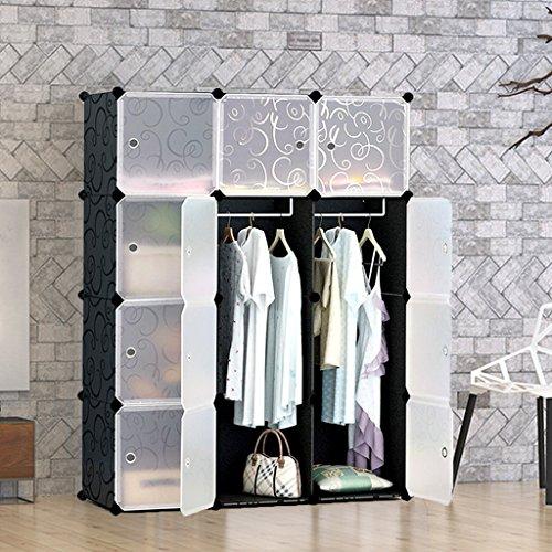 Tespo Tragbarer Kleiderschrank, modulares Aufbewahrungs-System, stabile Konstruktion, 12tiefe Würfel mit Kleiderstangen, welliges Muster in Schwarz / Weiß