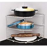 Plantex Stainless Steel Big Size Multipurpose 3-Tier Kitchen Corner Rack/Storage Shelf/Dish Rack/Storage Rack for Kitchen(Chr