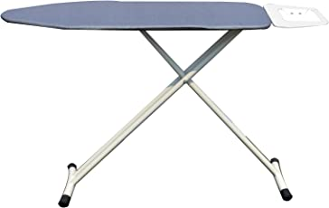 ATHENACREATIONS Ironing Board with Iron Holder, Safety Lock and Adjustable Height (Fabric and Steel, Grey)