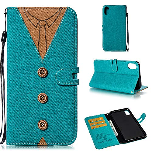 fitmore iPhone 9 Plus Case, iPhone 9 Plus Wallet Case,Design, Premium Slim Leather Wallet Back Case with Credit Card ID Holder Protective Case Replacement for iPhone 9 Plus,Blue Iphone 3g Back Cover