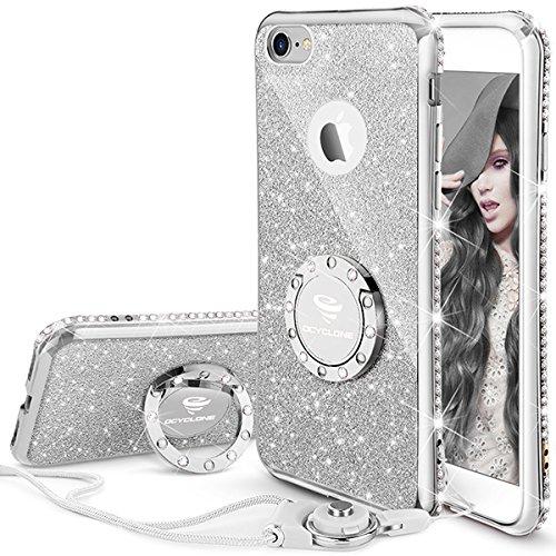 OCYCLONE iPhone 6S Hülle, Silber Glitzer Handy Hülle iPhone 6 / 6S mit Ring 360 Grad Ständer und Trageband Silikon, Diamant Glitzer Case für Frauen Mädchen iPhone 6 / 6S Hülle - 4,7 Zoll