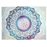 Unimall Wandteppich Boho Stil Hippie Wanddeko Weiß Blau 150 x 200 cm indisches Mandala-Design