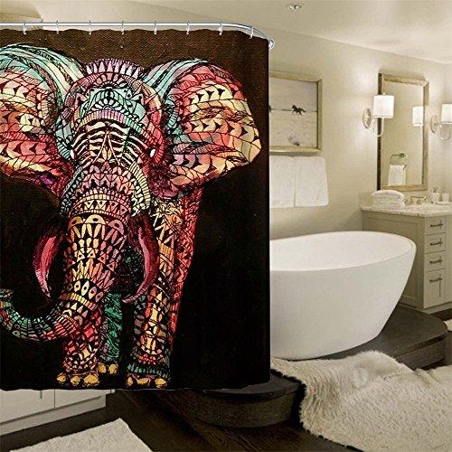 HROOME Duschvorhang – bunter Elefant als Motiv inkl. 12 Haken 180x180cm - 3