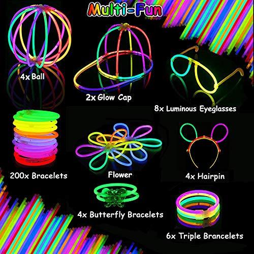 Imagen de kimimara 200 barras luminosas , pack con 200 piezas para fiestas, varillas luminosas con 268 conectores para pulseras y collares, juguetes de iluminación para niños colores variados  alternativa