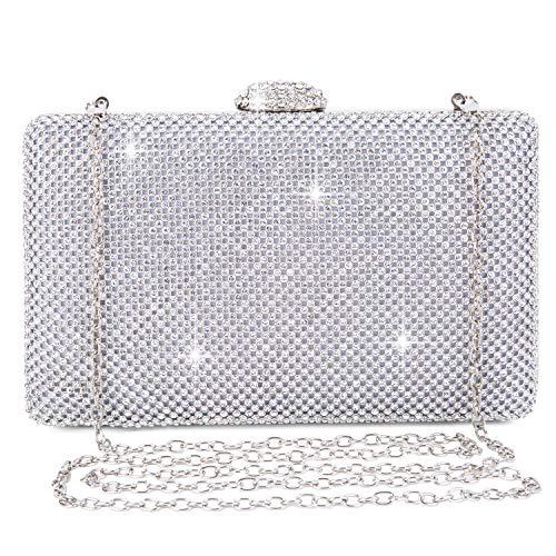 Baigio pochette donna argento strass clutch cerimonia borsetta da sera elegante borsa con catena per matrimonio party sposa