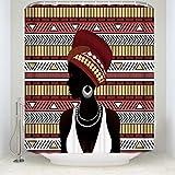 Z&L Home Custom Wasserdicht Badezimmer Afrikanische Frau Dusche Vorhänge Braun Geometrisch Design Dusche Room Decor Zubehör Art Deco 54x78Inches Siehe Abbildung