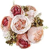 Soledi 1 Ramo 12 Cabezas de Flores Peonías Artificiales Decoración para Boda Fiesta Navidad Hogar (Champán)