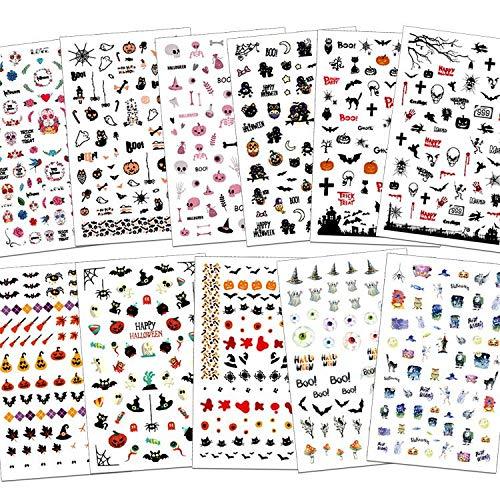 Konsait 900+Pcs Halloween 3D Nagelsticker Selbstklebend Wassertransfer, Halloween Cartoon Tiere Katze Blumen Totenkopf Nail Art Nagelsticker für Kinder Mädchen Halloween Make Up Dekoration Ornamente -
