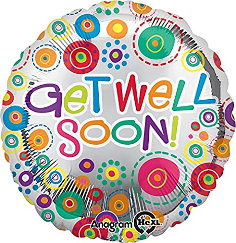 Anagram International Get Well Soon Happy Dots Balloon, 18 , Multicolor