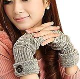 TININNA Invierno Cable Knit de Punto sin Dedos Guantes Calentadores de Muñeca para Mujeres Niñas con Diseño Botón Gris luz