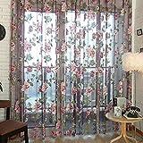 Masterein Romantische Blumen Tüll Voile Fenstervorhang Drapieren Panel-Sheer-Schal Volants