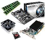 One PC Aufrüstkit | AMD A-Series A4-4020, 2 x 3.20GHz | Richland | montiertes Aufrüstset | Mainboard: ASRock FM2A88M-HD+ | 16 GB RAM (2 x 8192 MB DDR3 Speicher 1600 MHz) | CPU Mainboard Bundle | Grafik: 2048 MB AMD Radeon R5 230 (1GB GDDR3 + 1GB Hypermemory | Passiv) DVI, HDMI, VGA