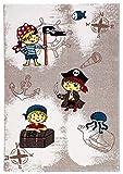 carpet city Kinderteppich Spielteppich Flachflor Junior mit Piraten-Motiv in Braun für Kinderzimmer: Größe 133x190 cm