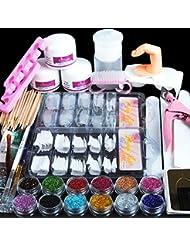 Mode Galerie Kit Manucure Ongles Nail Art Tips Faux Ongles Paillettes Décor Poudre Blanc Rose Clair