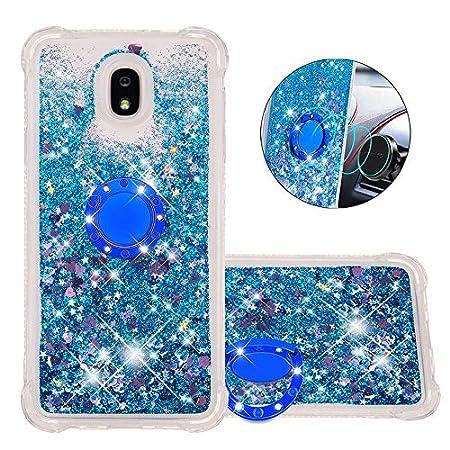 FAWUMAN Hülle für Samsung Galaxy J7 (2018) Diamant Ring Flüssig Treibsand Silikon TPU Bumper Hülle für Samsung Galaxy J7…