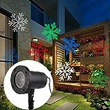 LED Projektionslampe Schneeflocke Pattern Weihnachtsbeleuchtung IP65 Wasserdicht Gartenbeleuchtung Dekotation für Weihnachten Innen und Außen Deko Beleuchtung (bunte Schneeflocken)